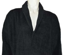 linenHall 400gsm Shalw Collar Bathrobe In Black
